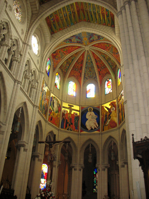 MADRID: The colorful modern decorations inside contrast strikingly with the neo-Gothic vaulting.