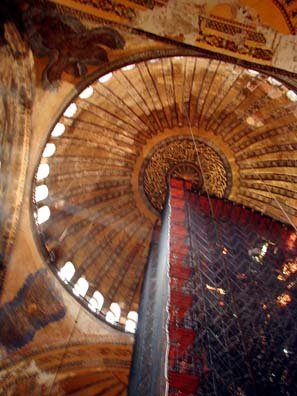 HAGIA SOPHIA: When we were there, a quarter of the central dome was obscured by scaffolding being used by restorers working on its mosaic decoration.