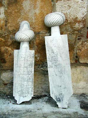 SELÇUK: Ottoman tombstones bear headgear representing the status of the person being memorialized.