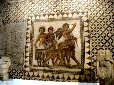 SEVILLA: The archaeological museum contains several outstanding Roman mosaics, including this one depicting a chariot drawn by tigers, led by Cupid.