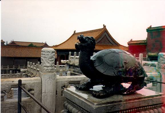 BEIJING: A stone tortoise, symbol--like so much else in China--of longevity. The roll ran out at this point and caused discoloration on the right, but I have tried to rescue it the best I could.