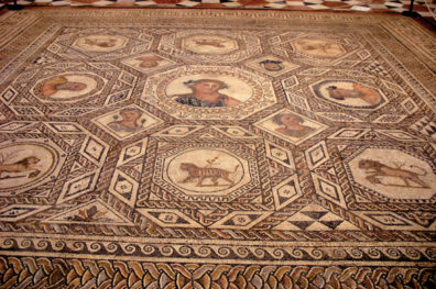 SEVILLA: Mosaic floor with human busts, lions, and tigers at the Sevilla Archaelogical Museum