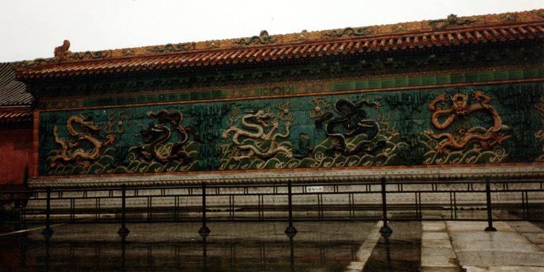 BEIJING: Porcelain walls decorated with dragons.
