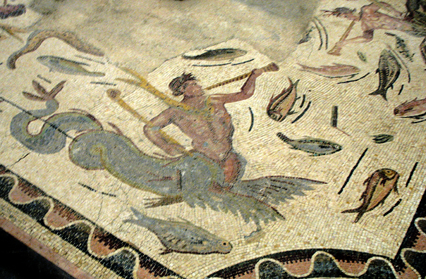 SEVILLA: Detail of a Winged Hippocampus blowing a trumpet, from a mosaic in the Sevilla Regional Archaelogical Museum.
