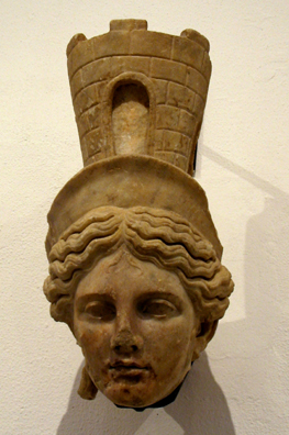 SEVILLA: From the reign of Hadrian the goddess Fortuna, depicted traditionally with a walled city on her head.(117-138 CE). In the Sevilla Archaelogical Museum.
