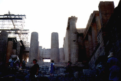 ATHENS: The entrance to the Acropolis, as we first saw it. The scaffolding lent an eerie postmodern touch.