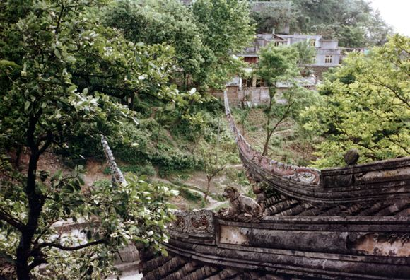 CHENG DU: Roof of the temple showing traditional curved beam ends and a carved dog.