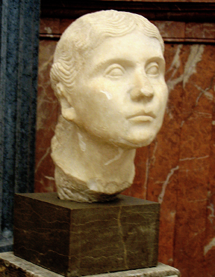 SEVILLA: Bust of a woman. Found in Sevilla, now in the Regional Archaeological Museum.