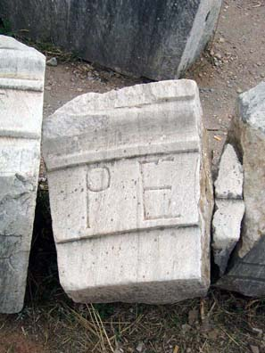 EPHESUS: Paula was amused to find a stone apparently inscribed with her initials.