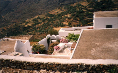 AMORGOS: Catherine's house in Langatha, viewed from above. Note the traditional painted design on the patio.