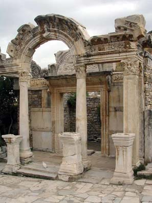 EPHESUS: The entrance to the temple of the Emperor Hadrian is ornately decorated.