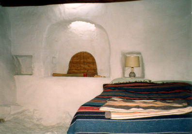 AMORGOS: Inside, a bake oven has been converted into cool bedroom. We stayed for the afternoon to help prepare a vegetarian feast for the rest of the gang, to celebrate Marcia Schekel's birthday.