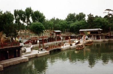 SUMMER PALACE: Artificial riverfront lined with shops. Lovely, but we had no time to stop.