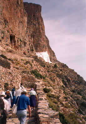 AMORGOS: On June 4 we took a van to the Monastery of Panagia Hozoviotissa (Grace of the Virgin) at the other end of the island, pinned high against a cliff.