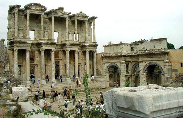 EPHESUS: The most spectacular facade in Ephesus belongs to the great Library of Celsus, built in 114 CE. Originally it held some 12,000 volumes.