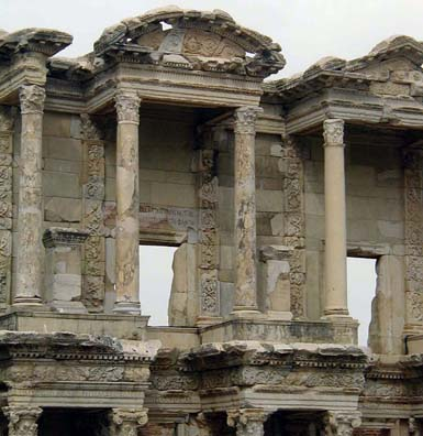 EPHESUS: Beautiful ancient columns stretching what seems sky high.