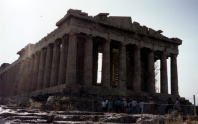ATHENS: Once gaudily painted with brilliant colors and boasting the magnificent reliefs whose fragments we had just seen in the British Museum, the Parthenon preserves its proportions and design, ironically rendered more refined in post-classical eyes by the loss of its paint job.