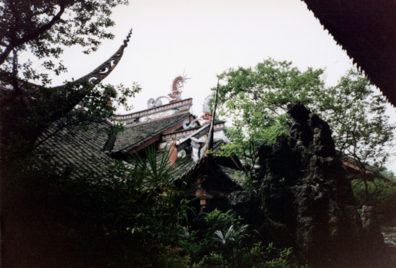 CHENG DU: More of the roof from a distance. The Communist government disapproved of the old curved eaves and they are rare in modern China.
