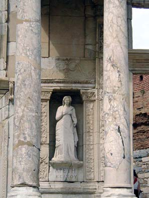 "EPHESUS: Replicas of statues representing various qualities ornament the facade. This depicts Arete (""Virtue"")."