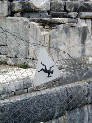 EPHESUS: This sign seems to warn you to watch out for falling tourists as you enter the theater.
