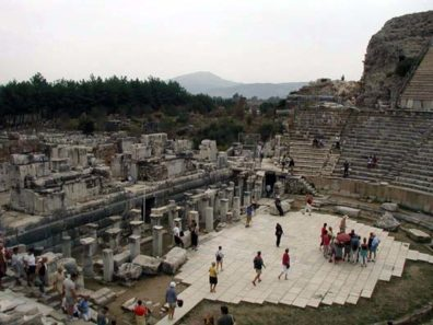 """EPHESUS: The vast theater at Ephesus is not only an impressive monument in itself, still used for concerts and other performances, but also features in a notable episode in the Biblical book of Acts (19:23-41). Supposedly local silversmiths who made their living creating images of Cybele (""""Diana of the Ephesians"""") felt threatened by Paul's success in converting people to Christianity, robbing them of potential customers. Faced with their protest, he decided not to speak at the theater."""