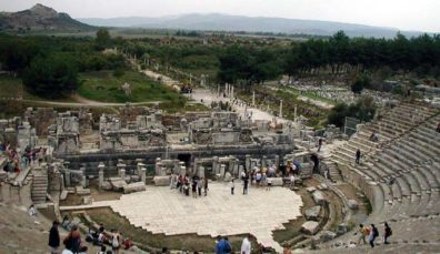 EPHESUS: From the top of the seating you get a fine view of the scaena and the column-lined road leading to what used to be the harbor before it silted up.