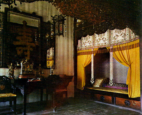 SUMMER PALACE: The Empress Dowager Ci Xi's bedchamber in the Palace of Joy and Longevity (commercial postcard).