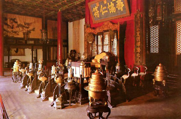 SUMMER PALACE: Hall of Benevolence and Longevity, interior (commercial postcard).