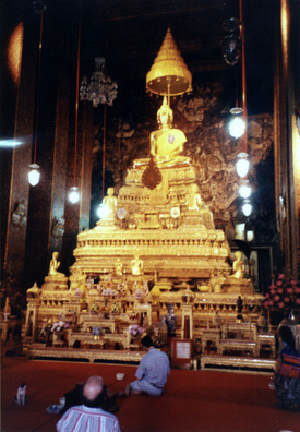Lavish golden altar in one of the temple complex halls.