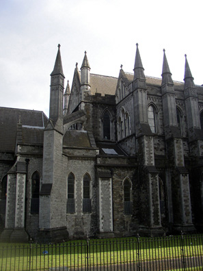 "DUBLIN, ST. PATRICK'S CATHEDRAL: Like Notre Dame in Paris, St. Patrick's was ""improved"" in the 19th century by architects seeking to emphasize its Gothic design. In this case, buttresses were added."