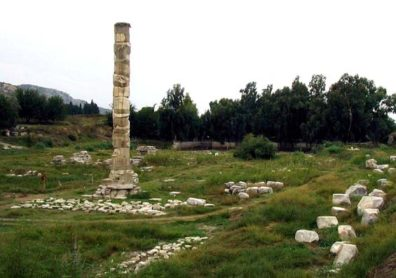 """EPHESUS: The great Temple of Cybele was one of the famous Seven Wonders, filled with riches and a destination for pilgrims from all over the Classical world. Christians, who called the fertility goddess """"Diana of the Ephesians,"""" saw it as a locus of evil, and this is all that remains today. A few fragments are also on display in the British Museum in London."""