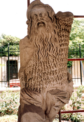 ATHENS: a sculpture of a sheepskin-clad satyr, traditional companion of Dionysus.