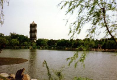 BEIJING: Later that day we paid a brief visit to Beijing University where we were warmly welcomed, one day before students hung out a banner calling for remembrance of the June 1989 demonstrations. The buildings were very run down, the library unimpressive, but the college lake and island were spectacular.