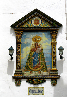 VEJER DE LA FRONTERA: A miniature copy of the picture on the outside of the church was posted in the hallway outside our apartment.