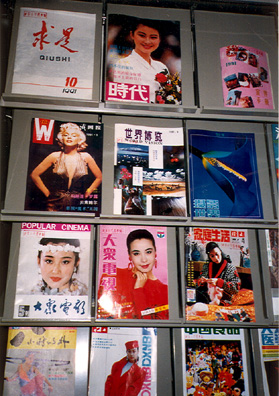 BEIJING: Magazine rack in the teacher's lounge, with typical women's magazines, including photo of Marilyn Monroe. In the afternoon, I bought very cheap tapes in a music shop where a truly terrible singer was trying out a karaoke machine. Explored the museum of the Revolution on Tienanmin Square, and ate at the famous Peking Duck restaurant, which was one of the few disappointing meals we had on the trip.
