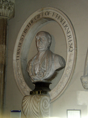 DUBLIN, ST. PATRICK'S CATHEDRAL: Many visitors come to St. Patrick's because of its most famous Dean (1713-1745), Jonathan Swift, author of Gulliver's Travels and other satirical works. This bust inside memorializes the author.