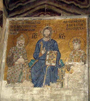HAGIA SOPHIA: Mosaic of Empress Zoe (1028-1050) and her third husband, Constantine IX Monomachus (1042-1055) surrounding Christ, commemorating their gifts to the church. She holds a list of donations and the emperor, a bag of gold. It is thought that the mosaic was originally commissioned by Zoe's first husband, Romanus II Argyrus (1028-1034), who paid for extensive repairs to the church. Evidently his head and name were replaced with those of her two successors, both of whom married the royal widow. This is the Zoe after whom our hotel was named.