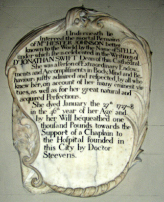 """DUBLIN, ST. PATRICK'S CATHEDRAL: Beside it is this plaque to Esther Johnson, Swift's beloved """"Stella"""" about whom he wrote some of his finest poems."""