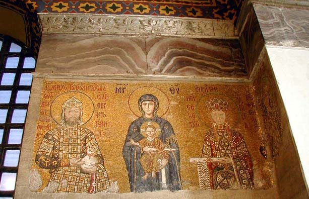HAGIA SOPHIA: Virgin and Child between Emperor John II Comnenus (1118-1143) and his wife Irene in the same pose as the Empress Zoe mosaic just opposite it.