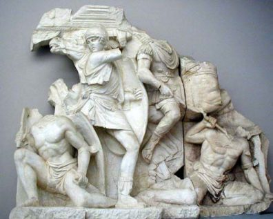 SELÇUK MUSEUM: The Greeks loved battle scenes on their buildings; this is one of several fragments from the facades of buildings at Ephesus.