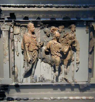 SELÇUK MUSEUM: This very rare tiny ivory carving of soldiers is done in high relief.