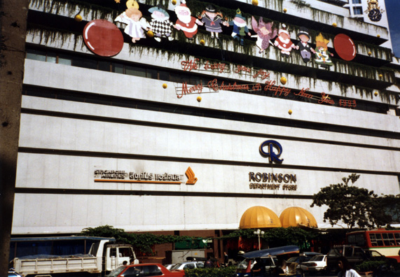 Popular Bangkok department store. Note the Christmas decorations in this overwhelmingly Buddhist country.