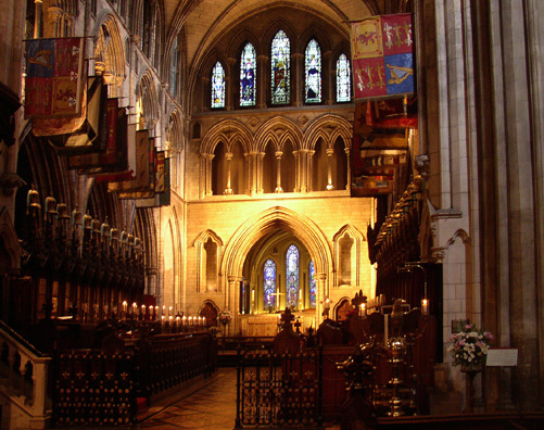 DUBLIN, ST. PATRICK'S CATHEDRAL: We couldn't take pictures during Evensong, but here's the choir and altar just afterward, with the candles still lit.