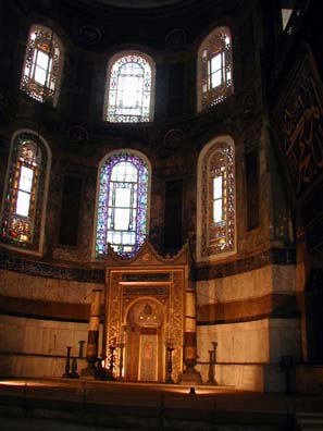 HAGIA SOPHIA:When Hagia Sophia was converted into a mosque, an elaborate mihrab indicating the direction worshippers should pray to face Mecca was erected at a slight angle to the church altar.