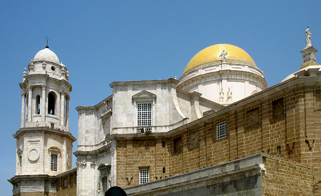 """CADIZ: It is said that the """"golden"""" dome of the cathedral was the first sight to signal to ships from the Spanish possessions in the Western Hemisphere that they were nearing home. The current building began construction in 1776."""