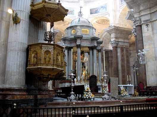 CADIZ: The pulpit and high altar under the dome. An organist was playing beautifully while we were in the church.