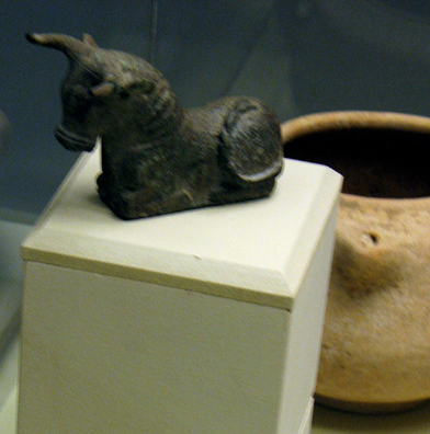 CADIZ: Bronze bull figurine, Phoenecian, 7th–6th C. BCE. Found in San Roque, now in the collection of the Fine Art & Archaeological Museum, Cadiz