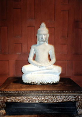 A stone image of the Buddha in the collection at the Jim Thompson house.