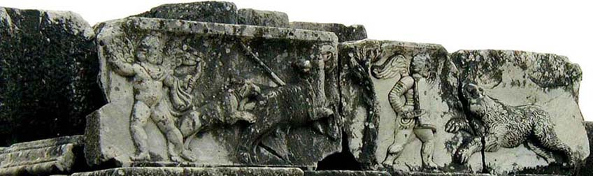 MILETUS: A very Roman subject: little Cupids as gladiators killing animals in the way real gladiators must have done in this very theater.