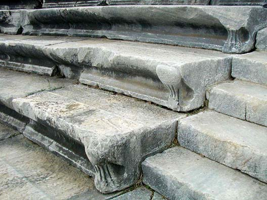 MILETUS: Theater seats. The curved bases helped to focus the sound in the vast theater.